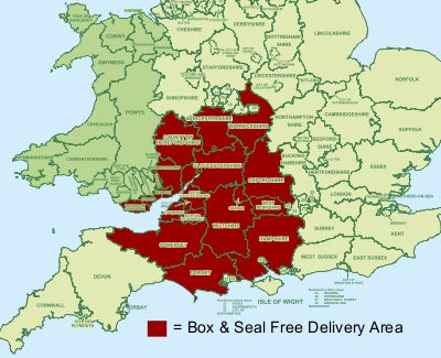 Box and Seal FREE Delivery Area